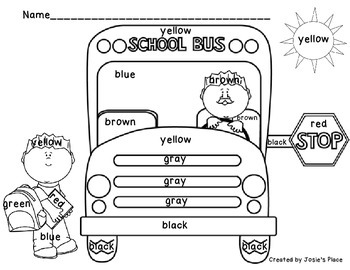 Color Word Recognition and Bus Coloring Sheets by Josie's