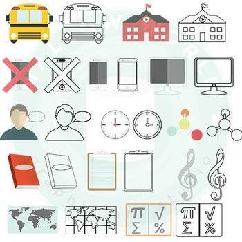school icons infographic clip