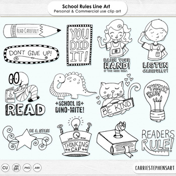 Black Line Art Classroom School Rules, Digital Stamp