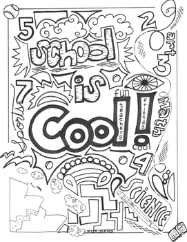 School is Cool coloring page summer fun by Miss Jenny