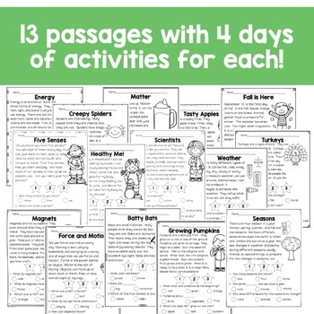 First Grade Close Reading Comprehension Passages and