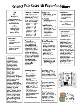 Science Fair Research Paper Guidelines By A Krohn TpT