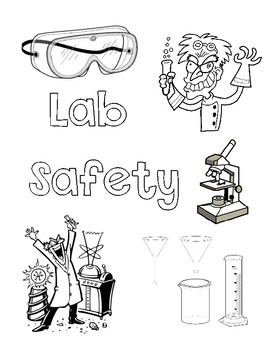 Science Lab Safety Coloring Page by From A to Z with Mrs T