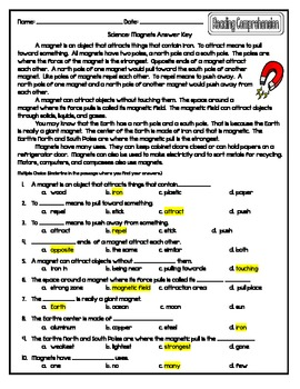 Science Magnets Reading Comprehension By Suzanne G