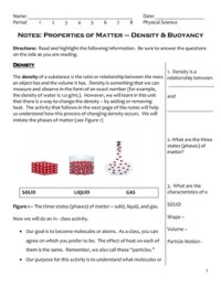 Buoyancy Worksheets For Middle School - buoyancy ...