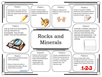 Science Project Choice Board: Rocks and Minerals- 10