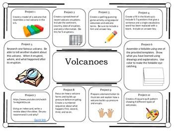 Volcano: volcano science fair project board