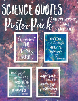Science Quotes Poster Pack On Watercolor Galaxies By Ngss