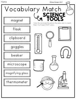 Science Tools Vocabulary Activities FREE SAMPLER by Daisy