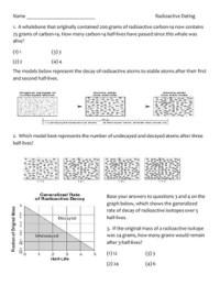 Radiometric dating worksheet key.