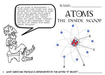 Science atoms atomic structure parts of an atom worksheet