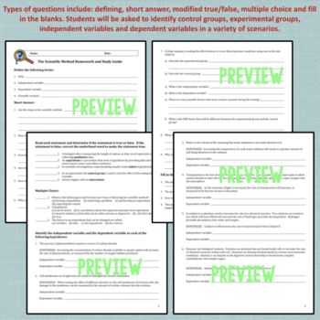 Scientific Method Worksheets, Homework or Study Guide by Amy Brown ...