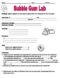 Scientific Method Inquiry Lab with Bubble Gum Worksheet by ...