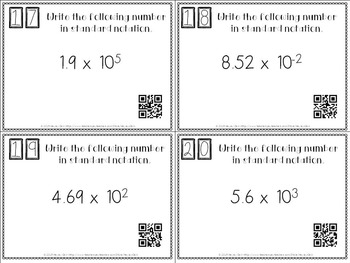 Scientific Notation and Standard Notation Task Cards with