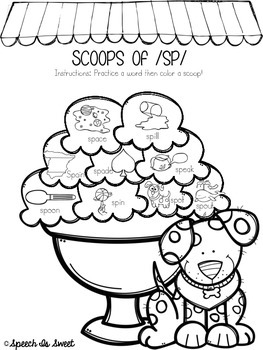 Scoops of Blends: Articulation Coloring Sheets by Speech