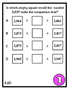 Scoot! Compare and Order (TEKS 3.2D) STAAR Practice by