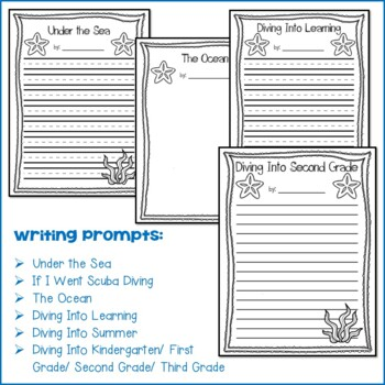 Scuba Diver Craft and Writing Prompts by Little Owl's