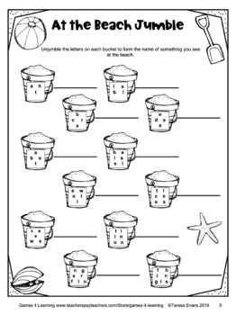 Free Summer Activities: Printable Word Puzzles for First