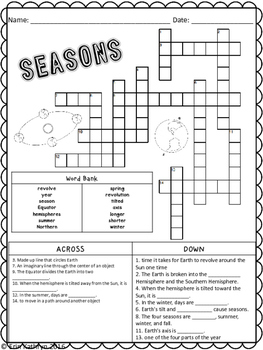 Seasons Crossword Puzzle Activity by Jersey Girl Gone