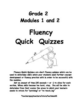 Second Grade 2 Fluency Assessment for Modules 1 and 2