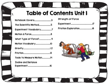 Second Grade Science Interactive Notebook Unit 1 Force and