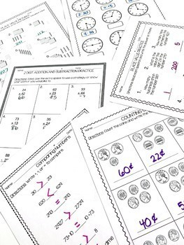 Second Grade Mid-Year Math Review Pack by Reading and