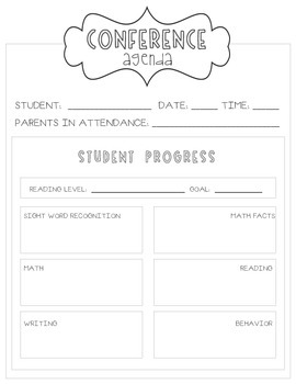 Second Grade Parent-Teacher Conference Agenda by learning
