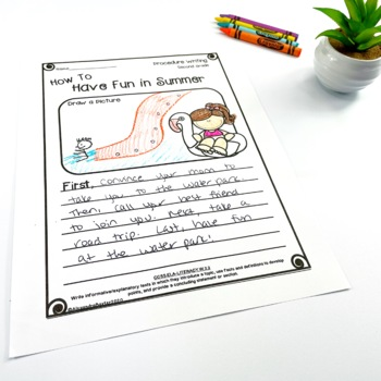 Second Grade Procedure Writing Prompts/Worksheets by