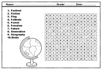 Second Grade Social Studies, Word Search Worksheets by