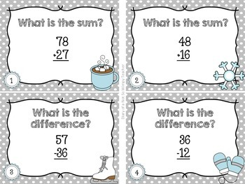 Second Grade Spiral Math Task Cards for January by Not So