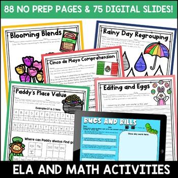 Digital and Printable Spring ELA and Math Bundle for 2nd