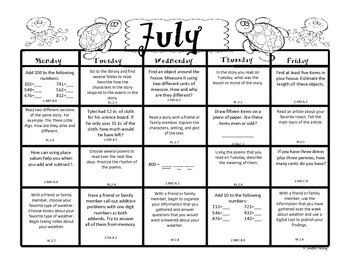 Second Grade Summer Packet (Common Core Aligned) by Mrs