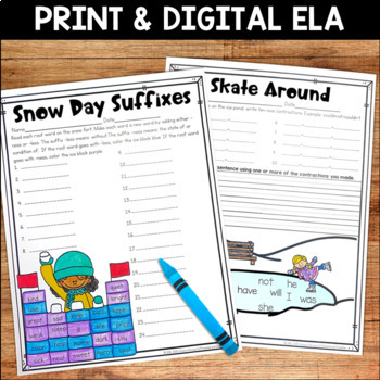 Winter No Prep Literacy Pack for Second Grade by