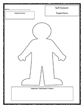 Self-Esteem Superhero worksheet by Chuda's Counseling And