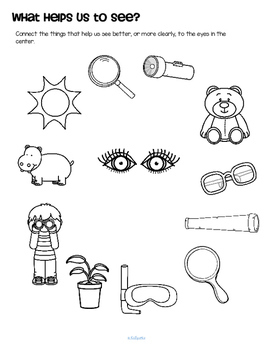 Sense of Sight Theme Centers, Printables and Activities by