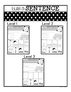 Sentence Building Worksheets for Special Ed Classrooms
