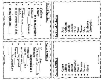 Sentence Frames & Word Bank Table Tents: Cross-Curricular