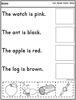 Sentence To Picture Match Literacy Center Color Words
