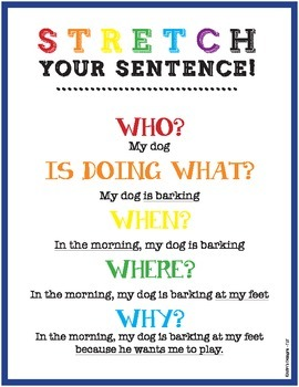 Sentence Writing  adding details including who what