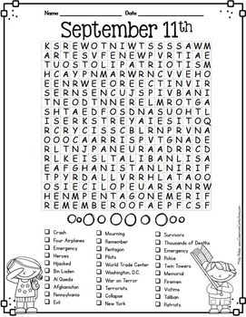 September 11 Activity: September 11th Word Search: 9/11