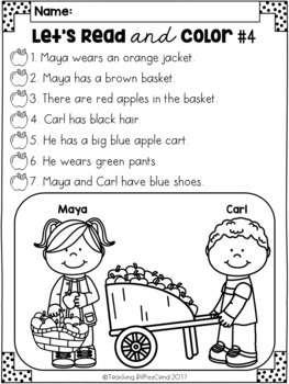 September Reading Comprehension Activities by Teaching