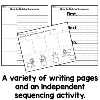 Sequence and Write: How to Build a Snowman by Kindergarten