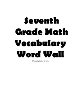 Seventh Grade Math Vocabulary Word Wall Cards by Bells n