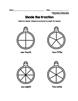 Shade the Fraction Christmas Ornaments Worksheets by