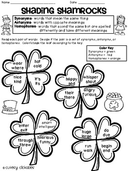 Shading Shamrocks- Synonyms, Antonyms, and Homophones
