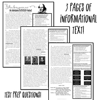 Shakespeare Informational Text, Test Prep, Close Reading