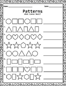 Shape Patterns Worksheet for Kindergarten, 1st Grade, and