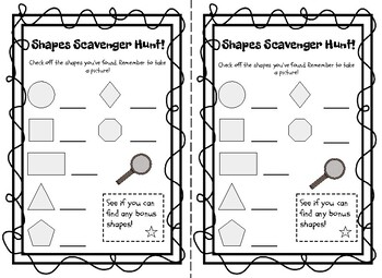 Shape Scavenger Hunt Checklist by Bookworms and Math Terms