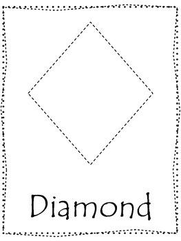 Shape tracing. Trace the Diamond Shape. Preschool