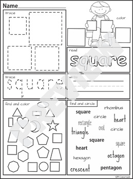 2D Shape Posters Worksheets Tracing Practice by KM